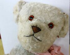 "Antique French Teddy bear 23""  light blue rayon cotton plush fur"