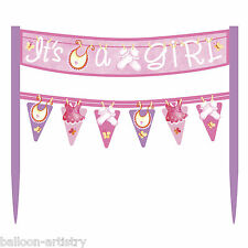 Pink Girl's CUTE CLOTHESLINE Baby Shower Party Cake Banner Decoration