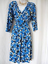 WALLIS BLUE YELLOW MULTI STRETCH DRESS SIZE 10 (EU 38) - NEW