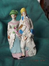 Vintage Wall Pocket Colonial Couple Man Woman Cello Made in Japan