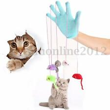 Cat Kitten Pet Play & Scratch Glove Mitt + Mouse Mice Teaser Trick Activity Toy