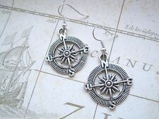 *NAUTICAL COMPASS NSEW* SP Earrings Tibetan Silver Sailor Tattoo Travel GIFT BAG