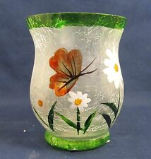 Hurricane Votive Candle Holder Hand Painted Frosted Crackle Glass A
