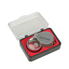 Mini 20x21mm Jeweler Loupe Loop Eye Magnifier Magnifying Glass Triplet Portable