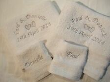 Personalised 4 piece towel set hearts anniversary wedding 2 hand & 2 face names
