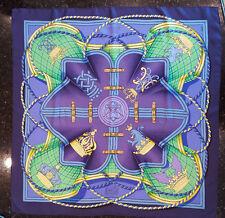 """HERMES Silk Scarf Grande Tenue Henri d'Origny 35"""" x 35"""" 1985 navy/multicolor"""