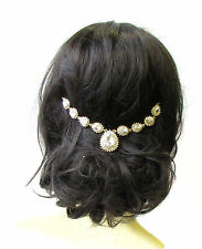 Gold Silver Bridal Headpiece Hair Vine Headband Rhinestone Vintage Diamante 1753