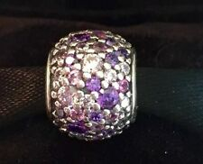 Genuine Pandora Sterling Silver Pink and purple Pave ball charm