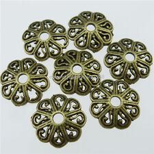 13215 100PCS Alloy Vintage Bronze Tone Flower Spacer Beads Caps End 12mm Cap