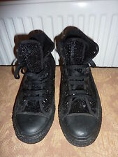 *CONVERSE* black sequin high top trainers - worn once - UK5