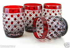 4 AJKA DOF WHISKEY ROCKS GLASSES RUSSIAN COURT PATTERN, RUBY RED CASED CRYSTAL