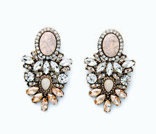 Fashion Party Luxury Rhinestone Leaf Flower Stripe Resin Oval Alloy Stud Earring