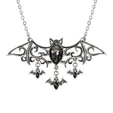 Alchemy Gothic Viennese Nights Crystal Bat Pendant Necklace Pewter P701