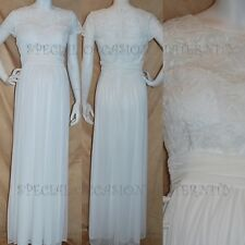 NEW Long Lace Top Chiffon Ivory Maternity Dress MEDIUM Bridal Gown Wedding Cap