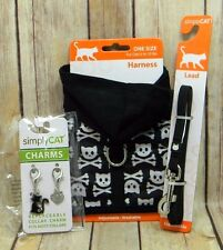 simplyCAT Black Cat Skull Hoodie Harness Lead Charms NEW Fits Cats 5 to 10 lbs!