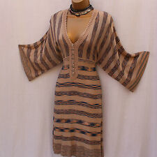 KAREN MILLEN Beige Stripe Batwing Sleeves V-Neck Knitted Crochet Dress sz2 UK-10