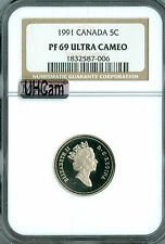1991 CANADA 5 CENTS NGC MAC PR69 UHCam ULTRA HEAVY CAMEO SPOTLESS  *