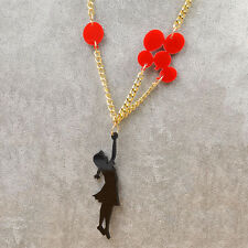 Lovely Girl with Ballon Pendant Necklace Charm Chain Women Lady Jewellery Gift