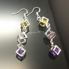 Women's 925 solid silver Colorful CZ Crystal Hoop Dangle Earrings L46a