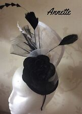 Black and white fascinator, Ascot style, weddings, races, ladies