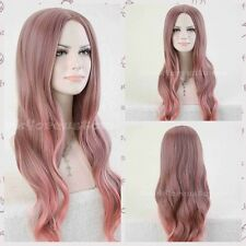 Fashion Women's Long Wavy Smoke Pink/Brown Mixed Anime Cosplay Hair Full Wigs