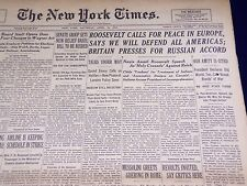 1939 APRIL 15 NEW YORK TIMES - ROOSEVELT CALLS FOR PEACE IN EUROPE - NT 1323