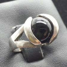 Fine Round Black Onyx Ball Bead Sterling Silver 925 Ring 7g Sz.8