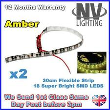 2 x Amber 30cm 18 SMD LED Flexible Adhesive Strip Light Car Van 12V Super Bright