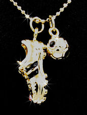 New Gold Tone Soccer Ball Shoe Austrian Crystal Pendant Charm Necklace
