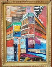 European Oil on Board Cubist Abstract Scene Painting. Signed. S. Nardin, 67.