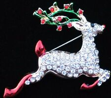 GOLD RED CLEAR CHRISTMAS RUDOLPH JUMPING FLYING REINDEER PIN BROOCH JEWELRY 2""
