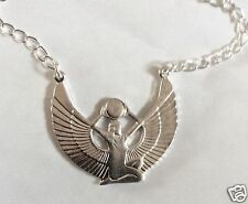 EGYPTIAN GODDESS SILVER  TONE NECKLACE 49 cm