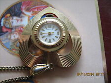 Beautiful heart shaped Caravelle by Bulova GP pendant watch on 875 silver chain