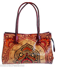 Batik Design LADIES BAG Vintage Shantiniketan 100% Pure Leather Bag