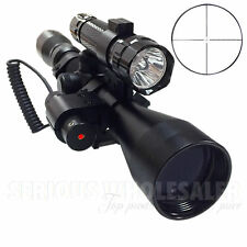 Tactical 3-9X40 Hunting Rifle Scope Optics Sniper W/ Red Laser & Torch