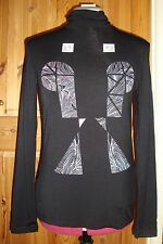 BNWT  Ladies Hand Screen Printed Black Patterned Long Sleeve Polo Neck Top Sz 16