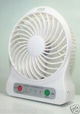 Portable Mini Rechargeable LED Light Fan With Battery Charger & USB Cable-White