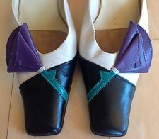 MIU MIU by PRADA Leather Kitten Heels Slides Mules Modern Purple Multi 36 6