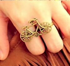 Vintage ajustable oro moto / bicycle doble anillo dedo