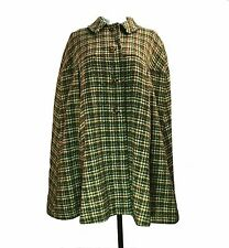 Pendleton Tweed Cape Cloak One Size Olive Green Red Fleck Plaid Check Wool