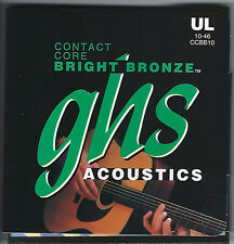 GHS CCBB10 Contact Core Bright Bronze acoustic guitar strings, U-Lt .010-.046