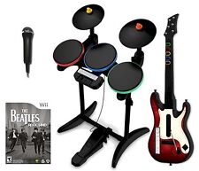Nintendo Wii-U/Wii THE BEATLES Rock Band guitar hero Bundle Set Kit drums game