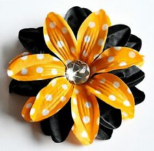 "5"" Orange & Black Polka Dots Tropical Lily Silk Flower Hair Clip Halloween"