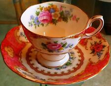 BEAUTIFUL' LADY CARLYLE' Cup/Saucer Royal Albert PINK Roses-Gold Trim XLNT