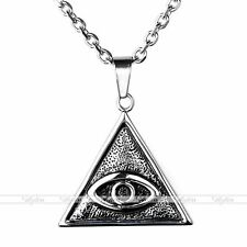 Vintage Steel Mens Eye of Providence Pendant For Necklace Chain Punk Jewelry