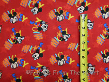 Disney Mickey Mouse Out to Play Toss on Red BY YARDS Springs Quit Cotton Fabric