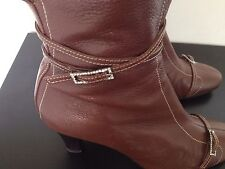 Moda Italia Brown Soft Leather Knee High Boots Heel Diamante Buckle Zip UK 7