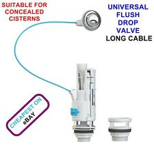 UNIVERSAL DUAL FLUSH DROP VALVE FOR CONCEALED CISTERN TOILET 570mm LONG CABLE