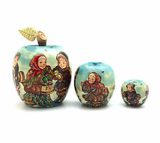 Unique Shape APPLE Russian Winter Hand Carved Hand Painted Nesting Doll