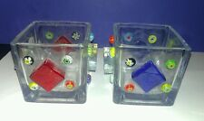 (2) Hand Decorated Glass Square Candle Votive Holders w/Glass Millefiori Sequins